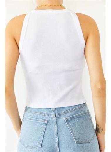 XHAN Siyah Kaşkorse Kolsuz Bluz  Beyaz